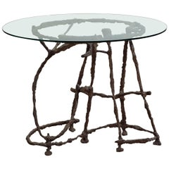 Italian Oval Table in Bronze and Crystal by Sandro Chia for Meta Memphis