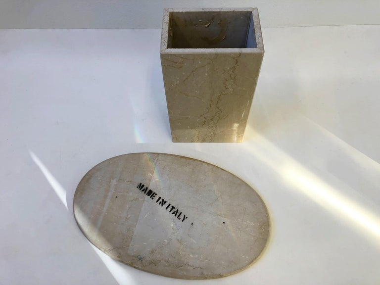 Italian Oval Travertine Side Table In Excellent Condition For Sale In Palm Springs, CA