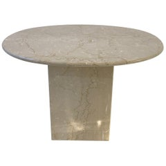 Italian Oval Travertine Side Table