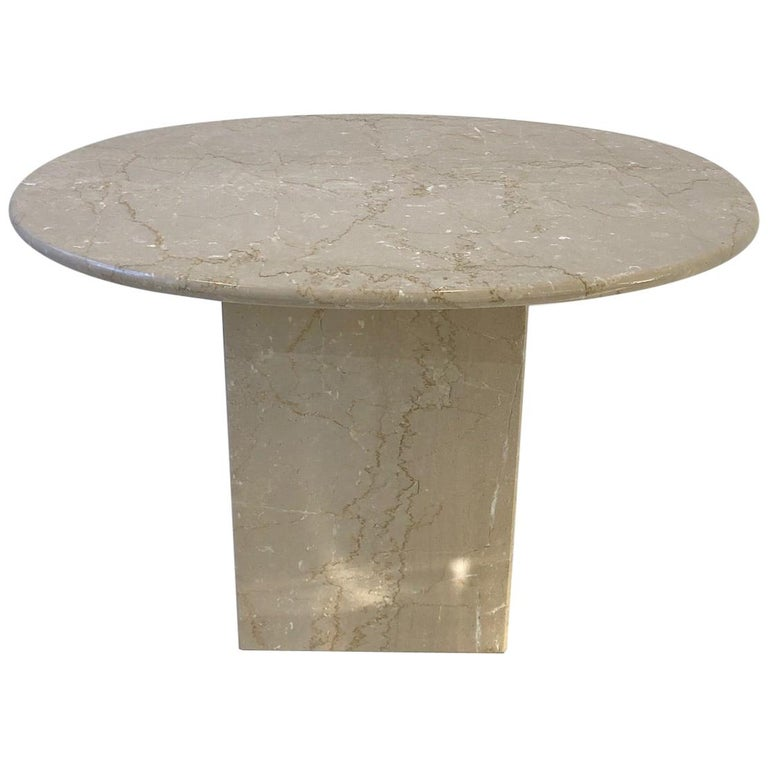 Italian Oval Travertine Side Table For Sale