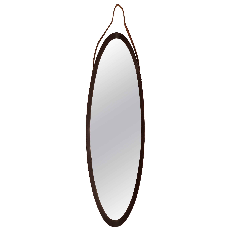 Italian Oval Wall Mirror in Teak, 1950s