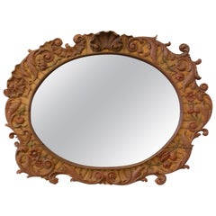 Italian Oval Wood Polychrome Rococo Style Mirror Rocaille Patterns, 19th Century