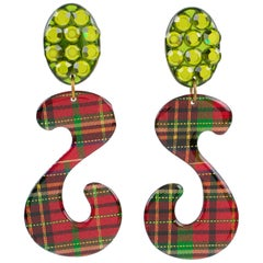Italian Oversized Dangling Glitter Lucite Clip Earrings Scottish Tartan Pattern