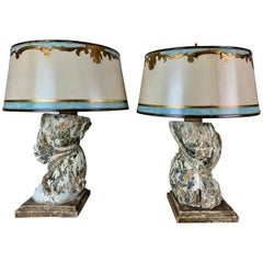 Italian Pained Column Lamps with Parchment Shades, Pair