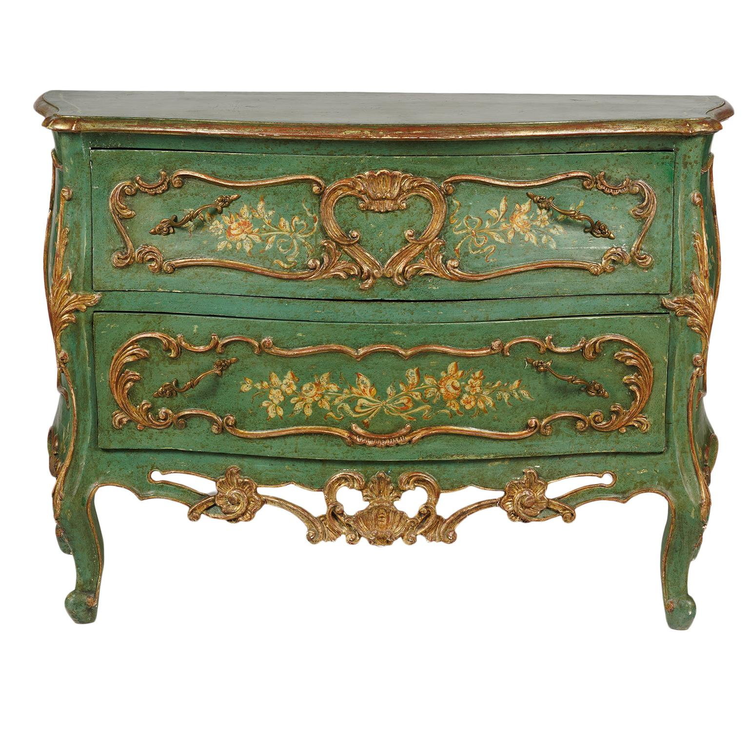 Italian Paint and Parcel Gilt Decorated Serpentine Front Rococo Style Commode