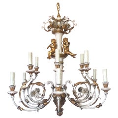 Italian Painted and Parcel-Gilt Carved Wood Chandelier
