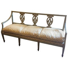 Italian painted and parcel Gilt Chair back Bench