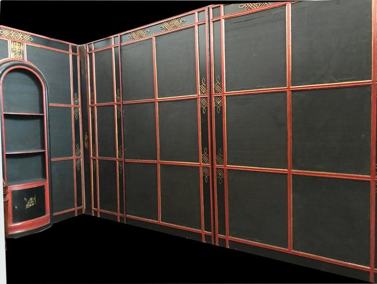 Italian Painted and Parcel-Gilt Japoneserie Boiserie Panels For Sale 4