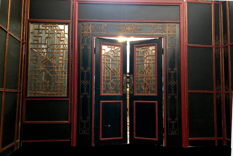Italian Painted and Parcel-Gilt Japoneserie Boiserie Panels For Sale 5