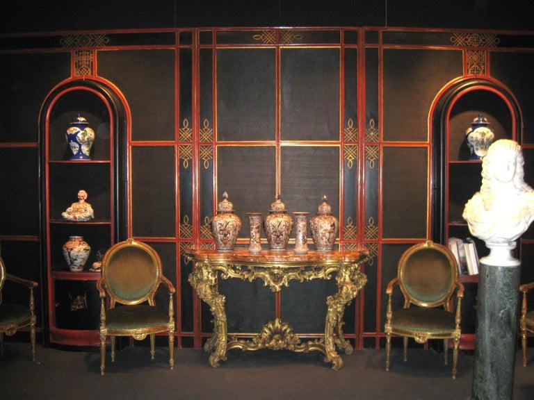 Italian Painted and Parcel-Gilt Japoneserie Boiserie Panels For Sale 7