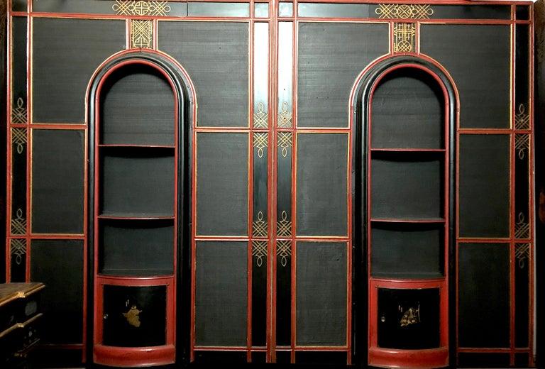 Italian Painted and Parcel-Gilt Japoneserie Boiserie Panels For Sale 14