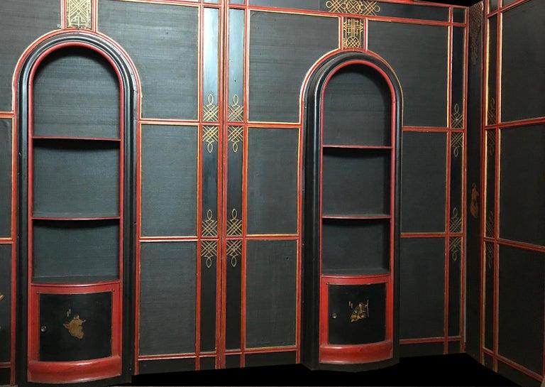 Art Deco Italian Painted and Parcel-Gilt Japoneserie Boiserie Panels For Sale