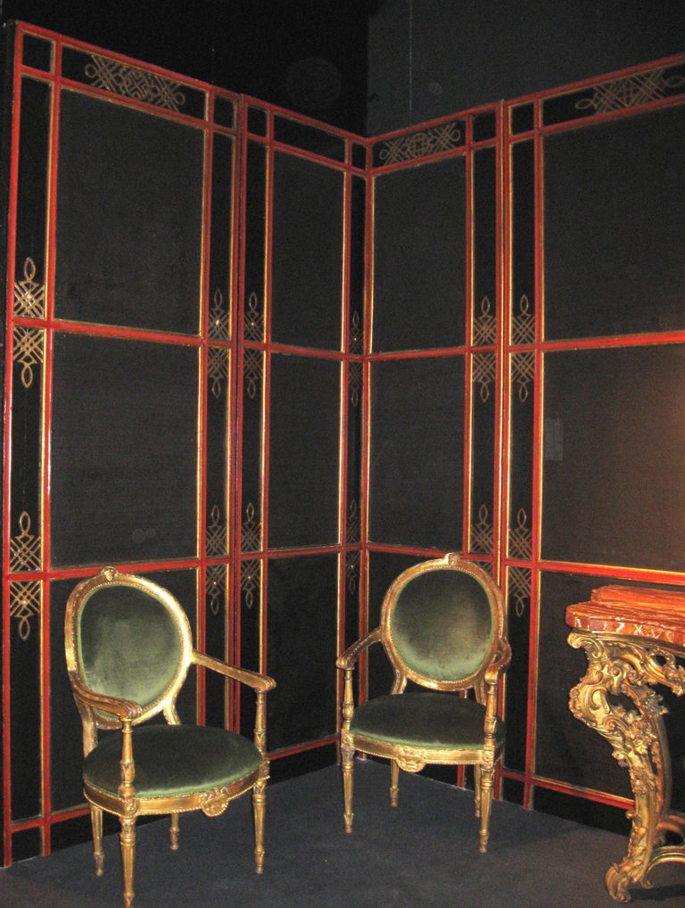 Italian Painted and Parcel-Gilt Japoneserie Boiserie Panels In Good Condition For Sale In Rome, IT