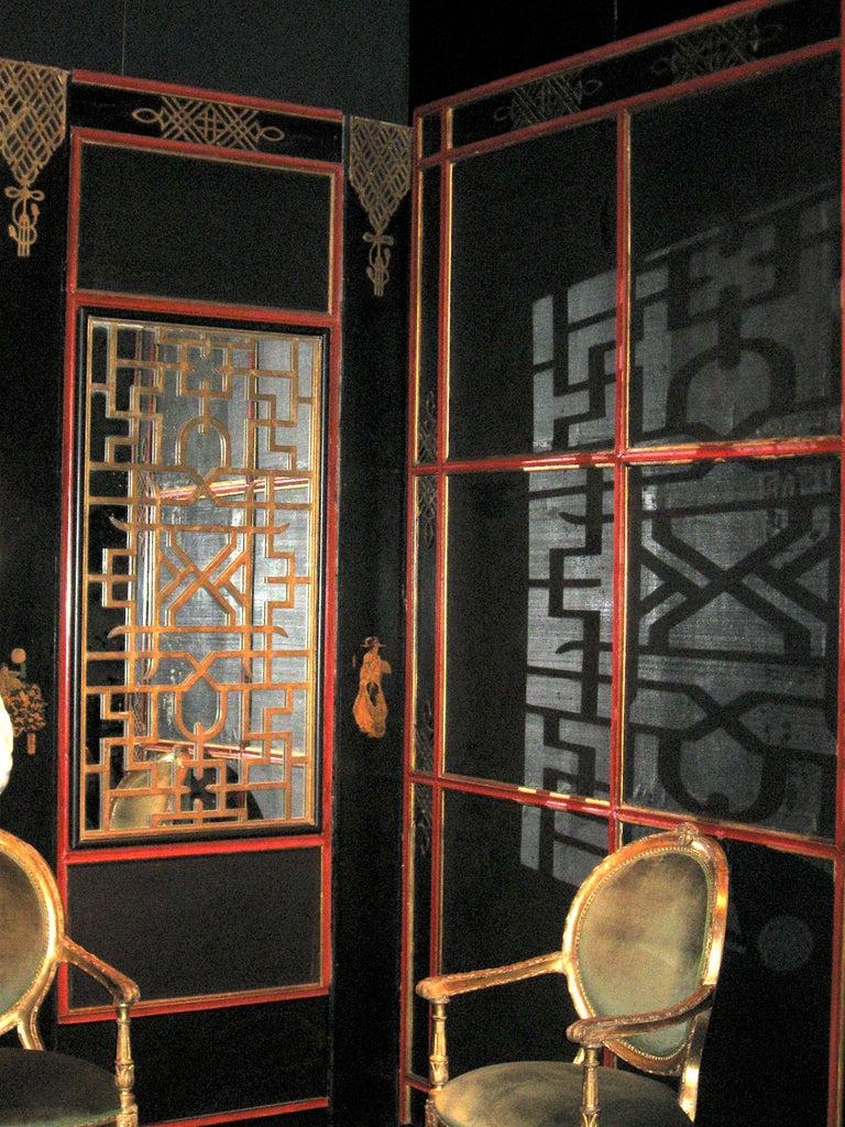 Wood Italian Painted and Parcel-Gilt Japoneserie Boiserie Panels For Sale