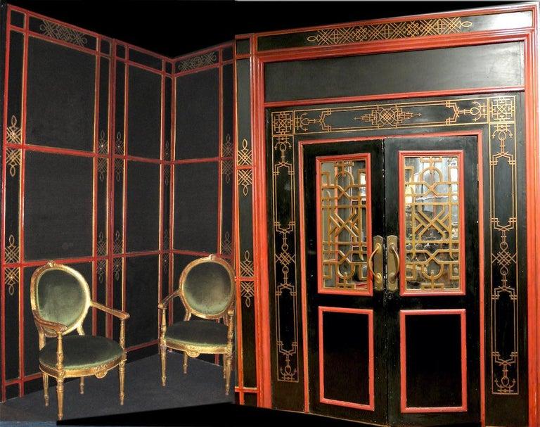 Italian Painted and Parcel-Gilt Japoneserie Boiserie Panels For Sale 2