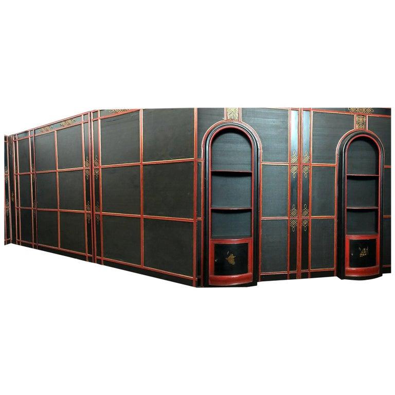 Italian Painted and Parcel-Gilt Japoneserie Boiserie Panels For Sale