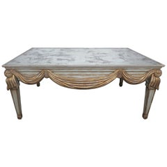 Italian Painted and Parcel-Gilt Mirrored Top Coffee Table