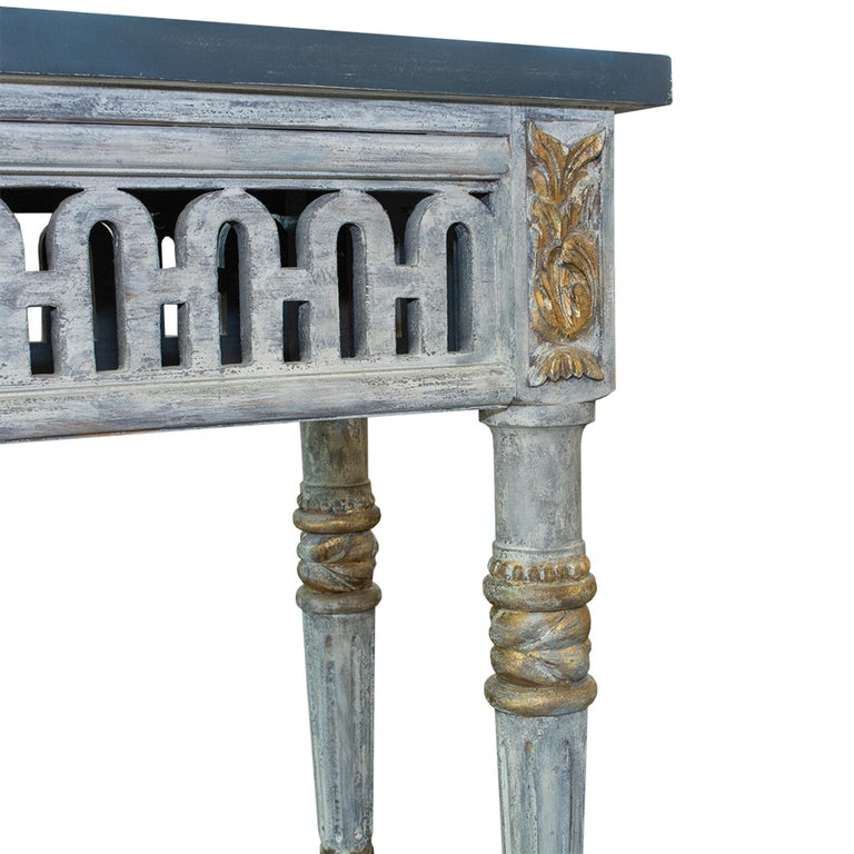 Italian Painted and Parcel Gilt Neoclassical Style Console For Sale 4