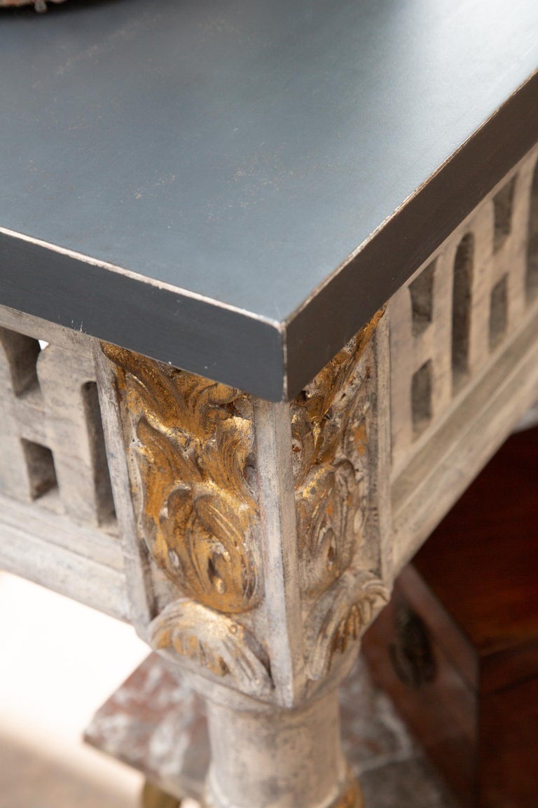 Wood Italian Painted and Parcel Gilt Neoclassical Style Console For Sale