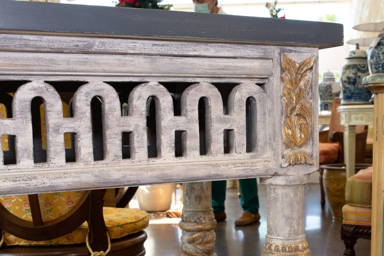 Italian Painted and Parcel Gilt Neoclassical Style Console For Sale 3