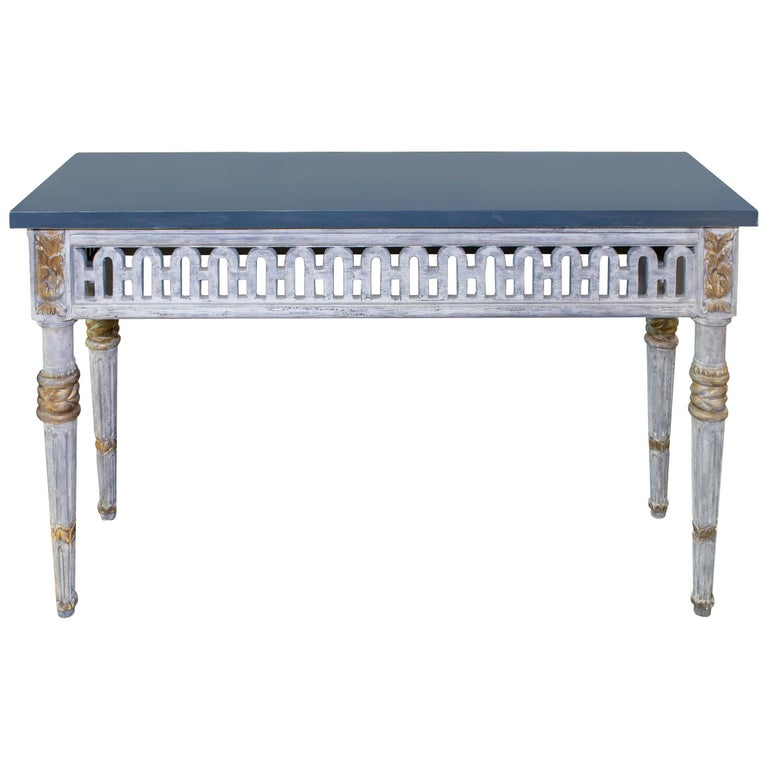 Italian Painted and Parcel Gilt Neoclassical Style Console For Sale