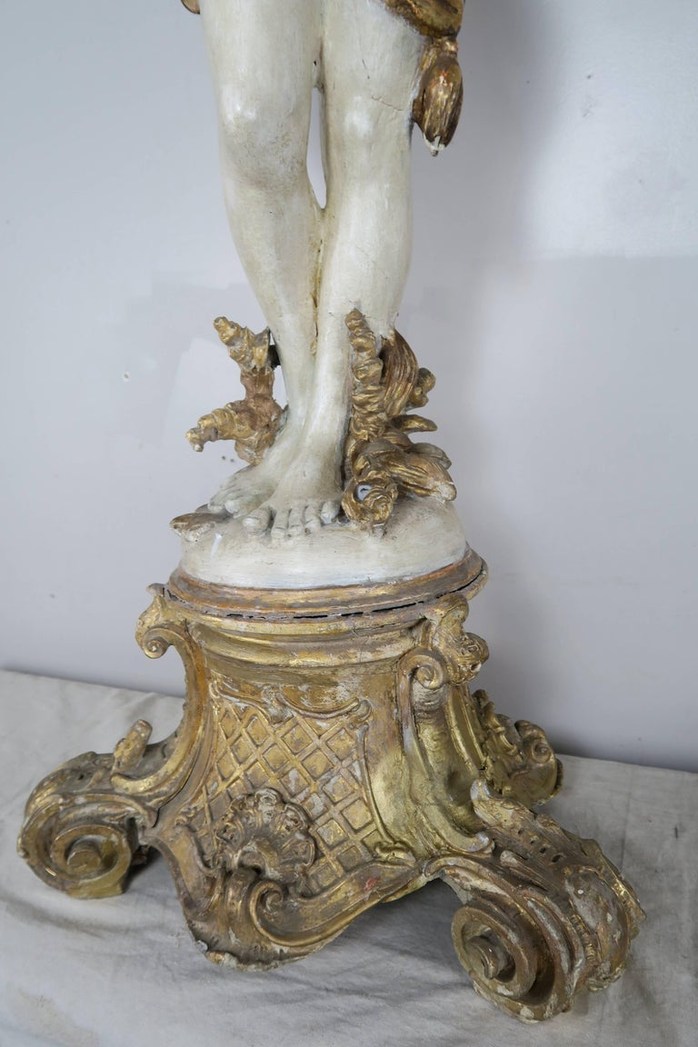 Italian Painted and Parcel Gilt Semi-Nude Woman Torchiere, circa 1930s For Sale 5
