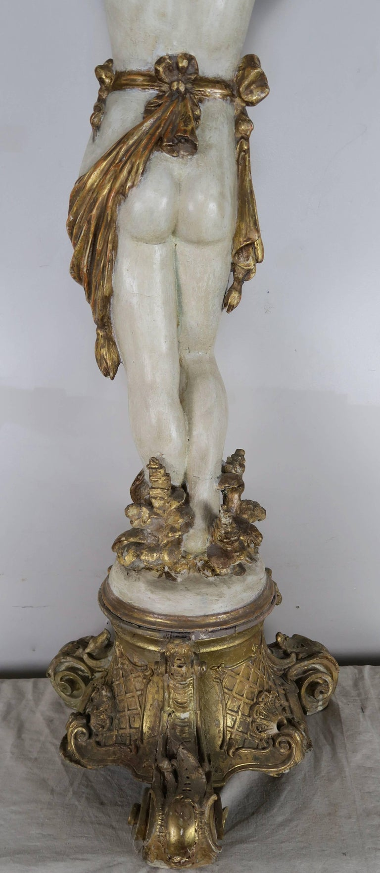 Italian Painted and Parcel Gilt Semi-Nude Woman Torchiere, circa 1930s For Sale 6
