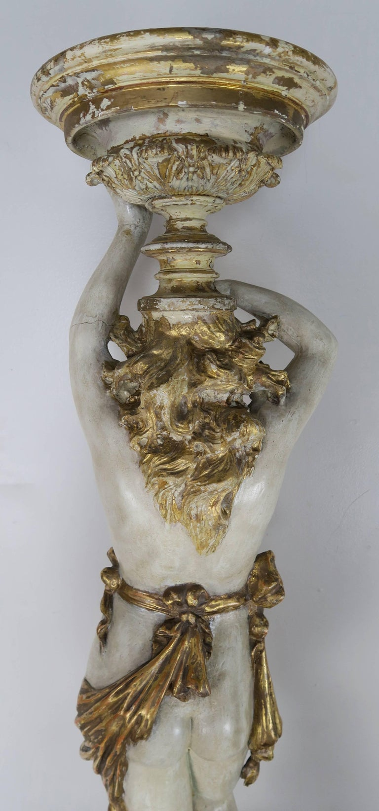 Italian Painted and Parcel Gilt Semi-Nude Woman Torchiere, circa 1930s For Sale 7