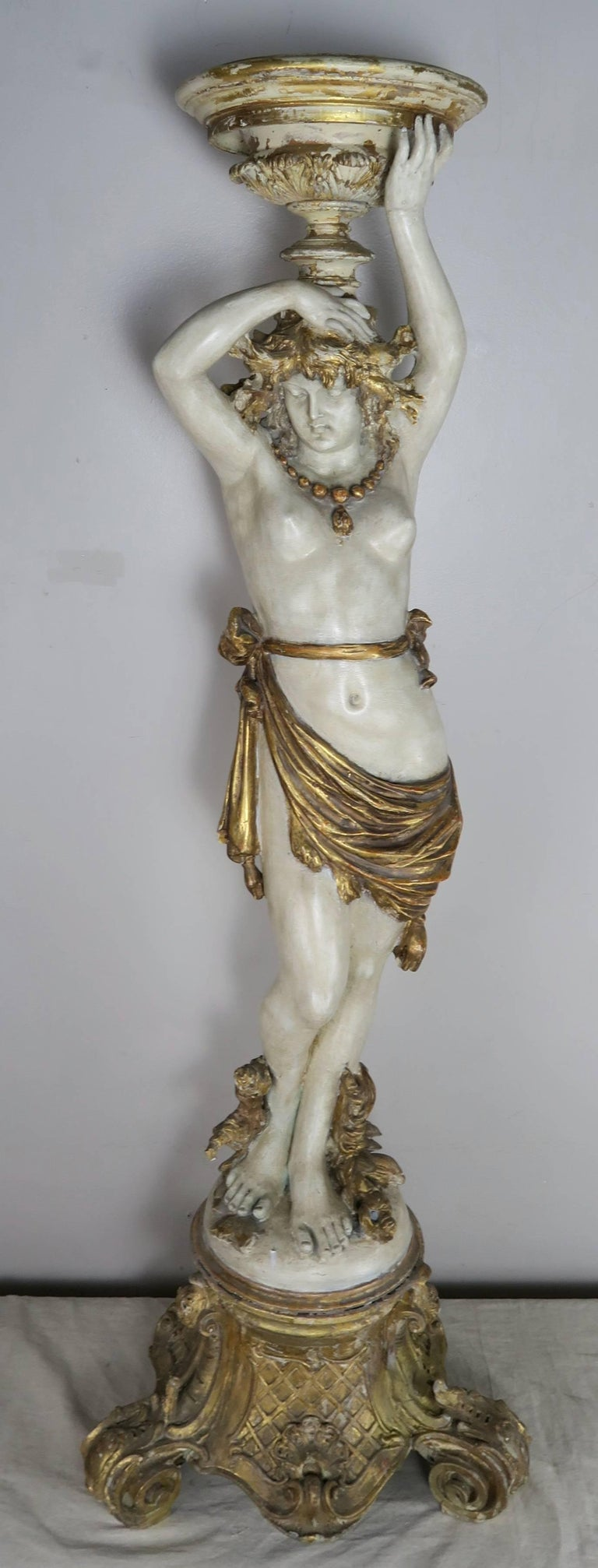 Italian Painted and Parcel Gilt Semi-Nude Woman Torchiere, circa 1930s For Sale 9