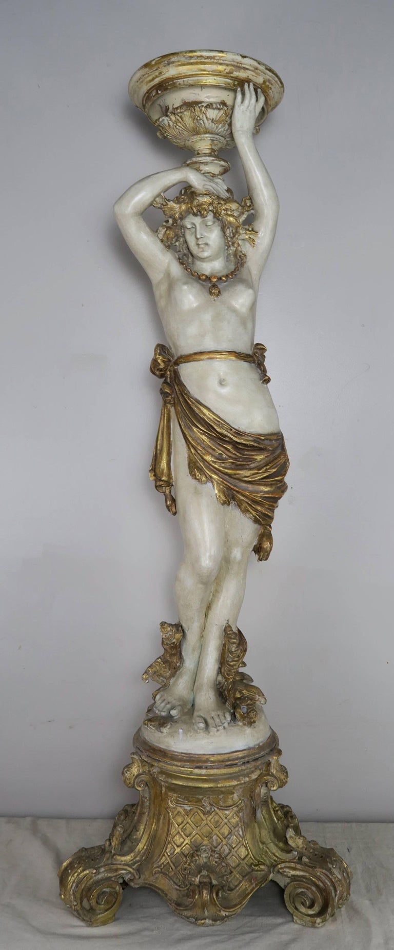 Classical Roman Italian Painted and Parcel Gilt Semi-Nude Woman Torchiere, circa 1930s For Sale