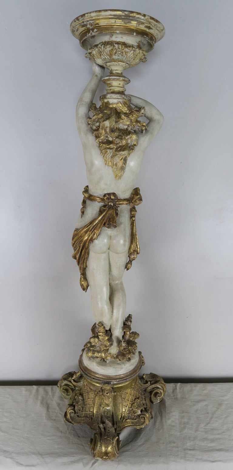 Mid-20th Century Italian Painted and Parcel Gilt Semi-Nude Woman Torchiere, circa 1930s For Sale