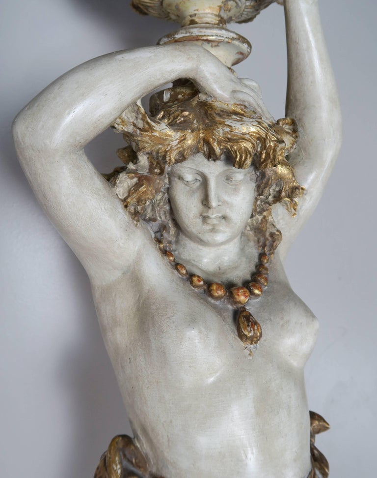 Italian Painted and Parcel Gilt Semi-Nude Woman Torchiere, circa 1930s For Sale 1