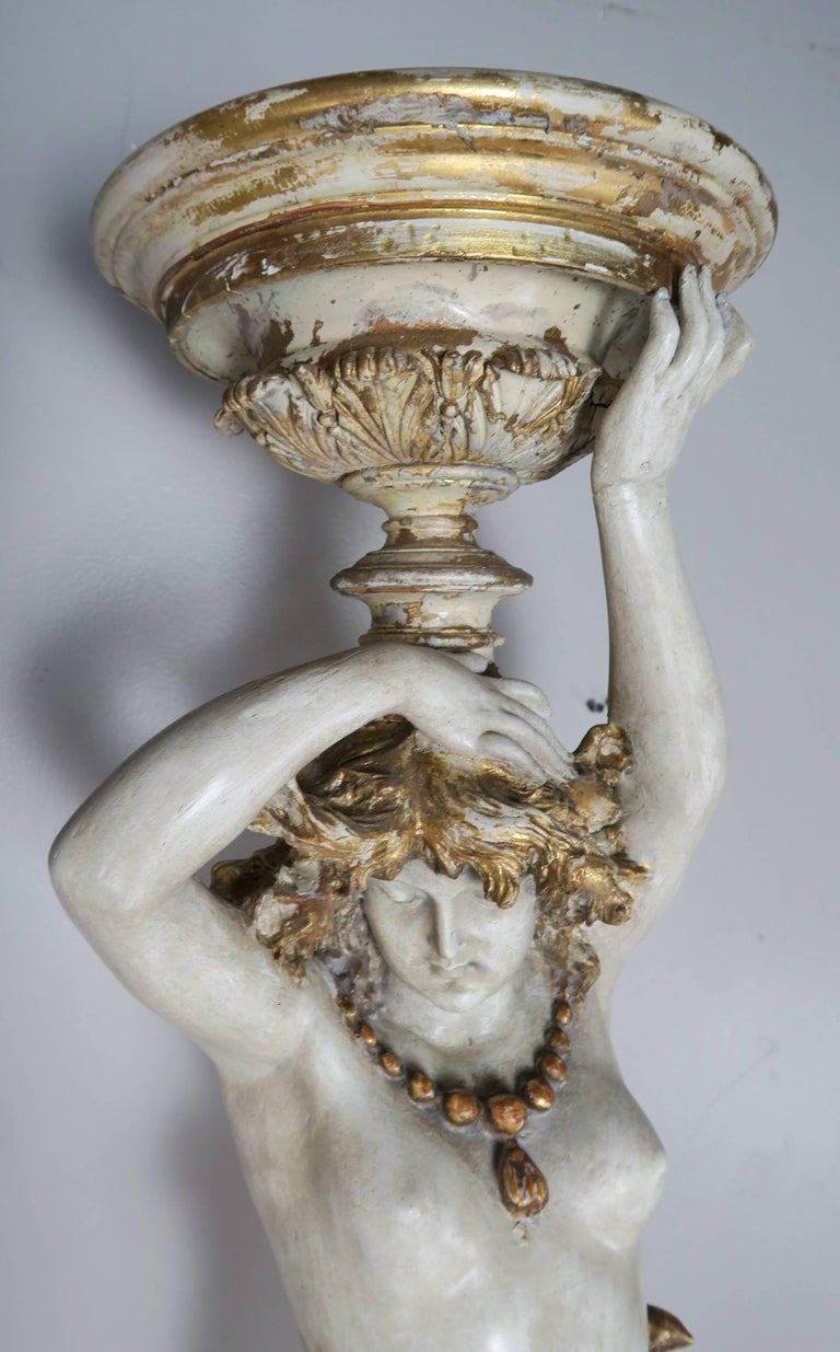 Italian Painted and Parcel Gilt Semi-Nude Woman Torchiere, circa 1930s For Sale 2
