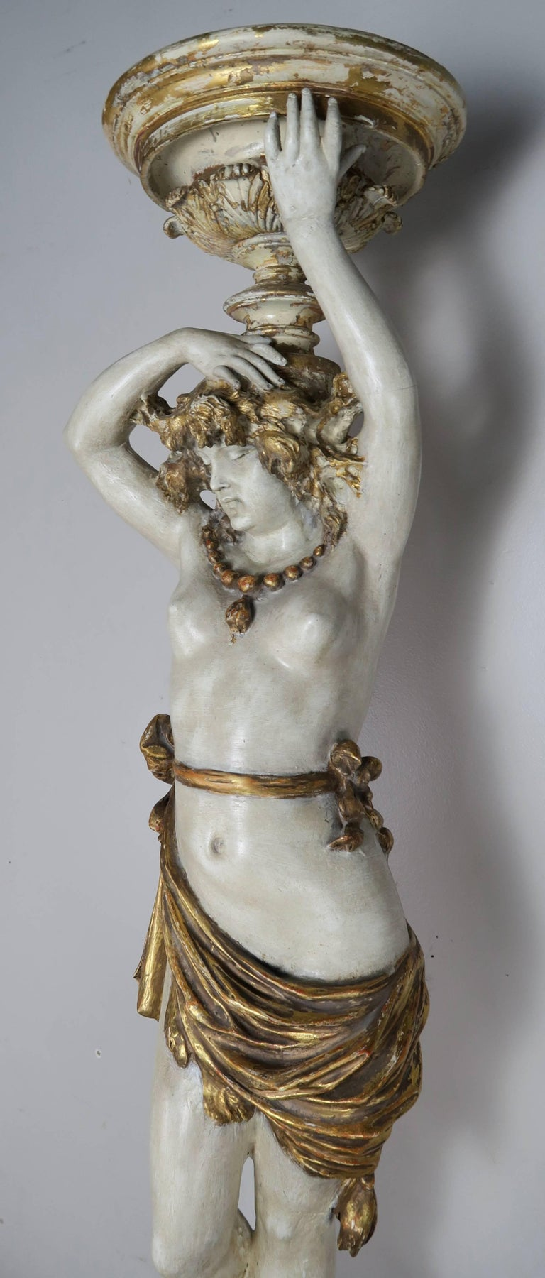 Italian Painted and Parcel Gilt Semi-Nude Woman Torchiere, circa 1930s For Sale 3