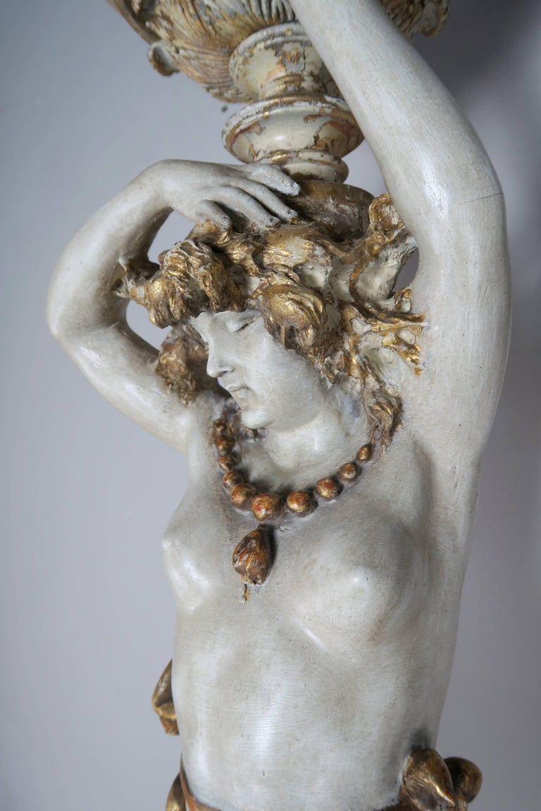 Italian Painted and Parcel Gilt Semi-Nude Woman Torchiere, circa 1930s For Sale 4