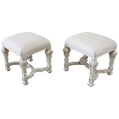 Italian Painted and Upholstered Ottomans or Vanity Stools
