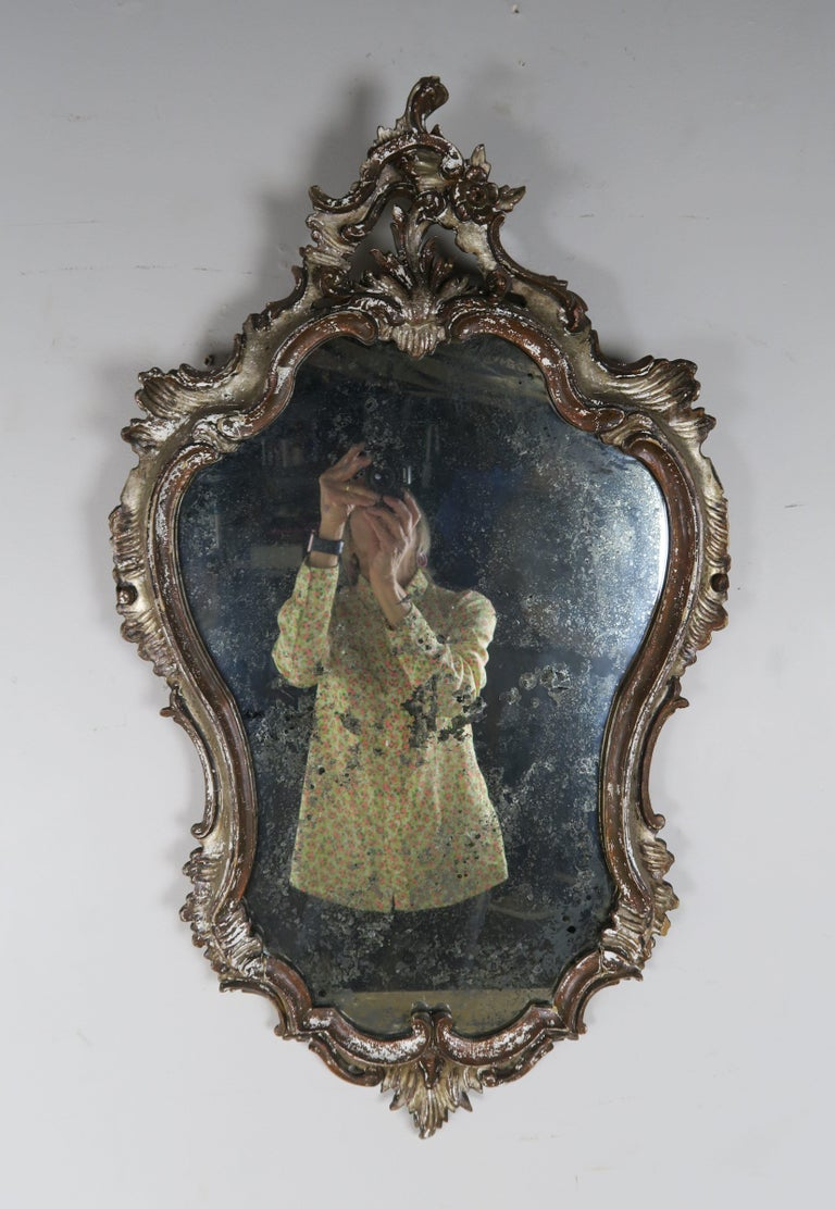 Italian Painted Carved Mirror, circa 1930s For Sale 4