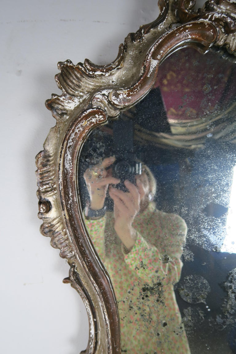 Rococo Italian Painted Carved Mirror, circa 1930s For Sale