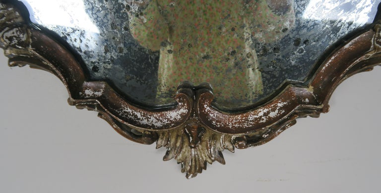 Italian Painted Carved Mirror, circa 1930s In Distressed Condition For Sale In Los Angeles, CA