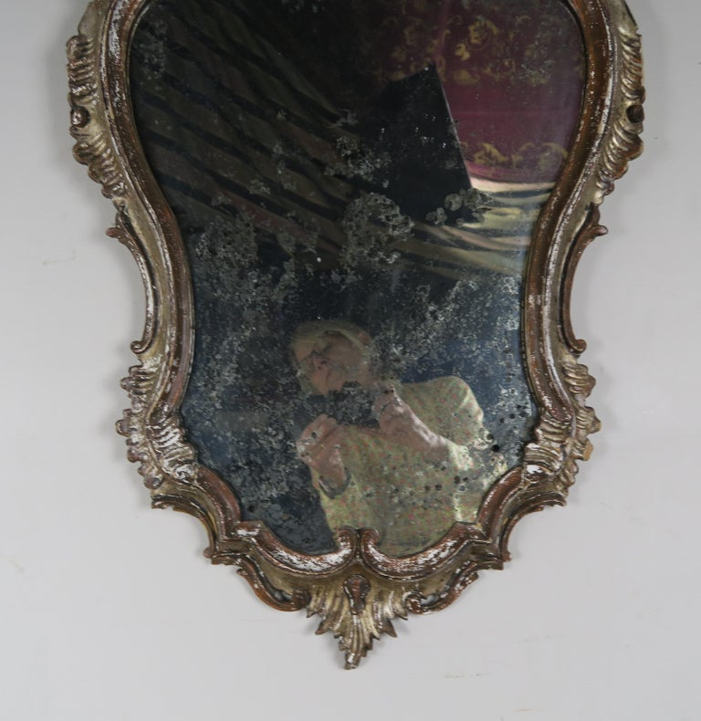 Mid-20th Century Italian Painted Carved Mirror, circa 1930s For Sale