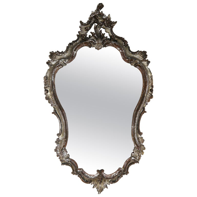 Italian Painted Carved Mirror, circa 1930s For Sale
