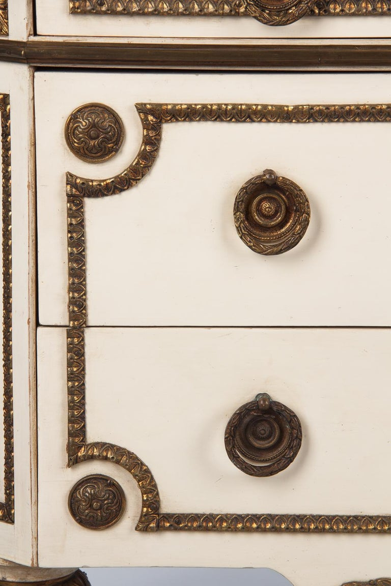 Italian Painted Chest of Drawers with Marble Top in Louis XVI Style, 1940s For Sale 5