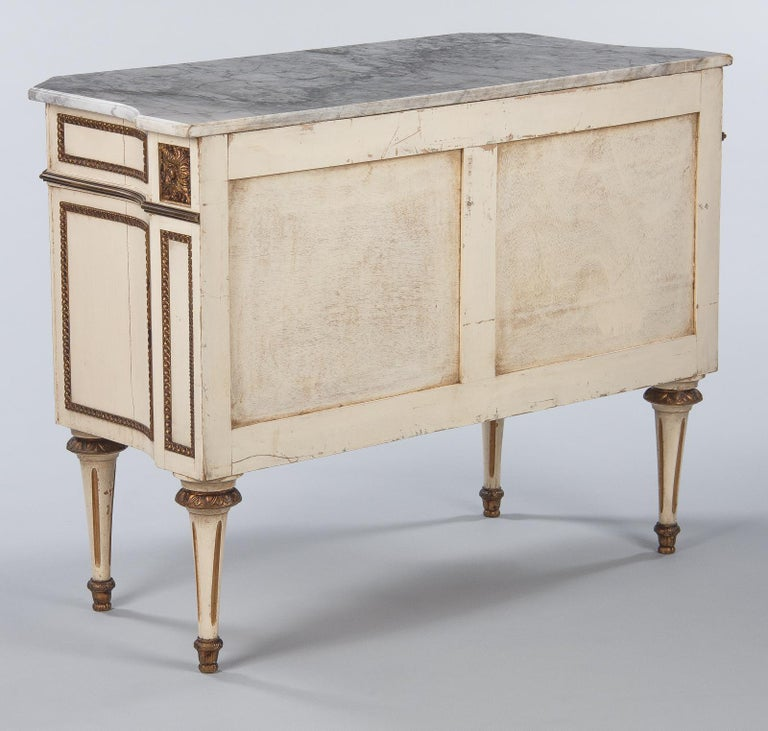 Italian Painted Chest of Drawers with Marble Top in Louis XVI Style, 1940s For Sale 10