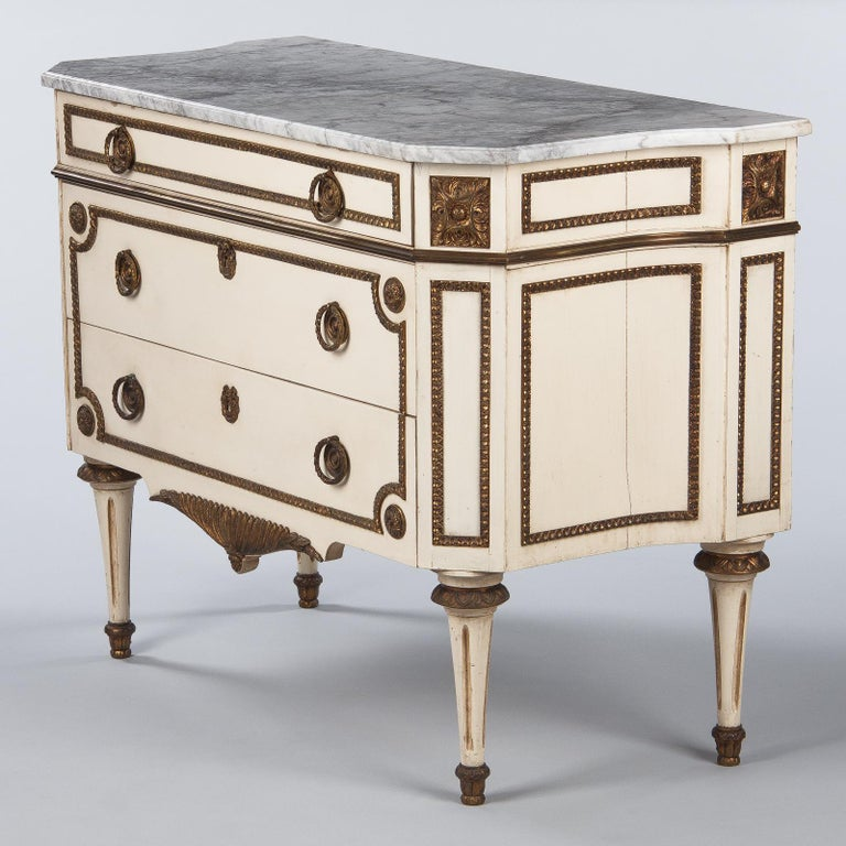 Italian Painted Chest of Drawers with Marble Top in Louis XVI Style, 1940s For Sale 15