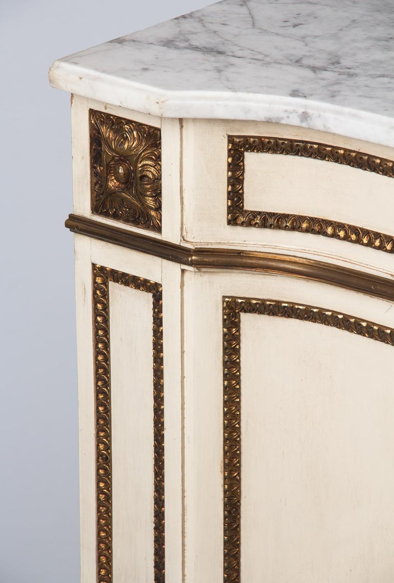 Brass Italian Painted Chest of Drawers with Marble Top in Louis XVI Style, 1940s For Sale