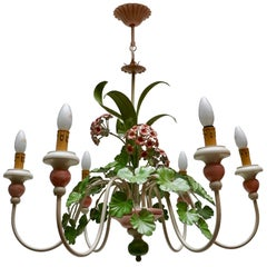 Italian Painted Iron and Tole Chandelier with Flowers