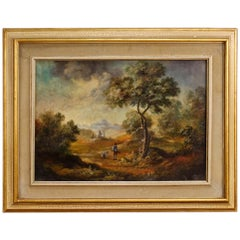 Italian Painted Landscape with Characters, 20th Century