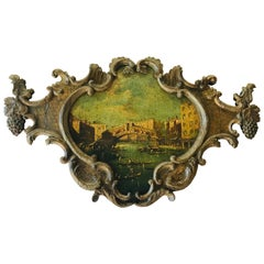 Venetian or Italian Painted Overdoor with Realto Bridge on Grand Canal Scene