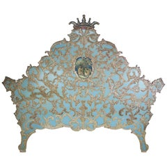 Italian Painted & Parcel Gilt Headboard W/ Putti's, circa 1930s