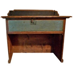Italian Painted Pine Counter with Inner Chamber and Original Hardware